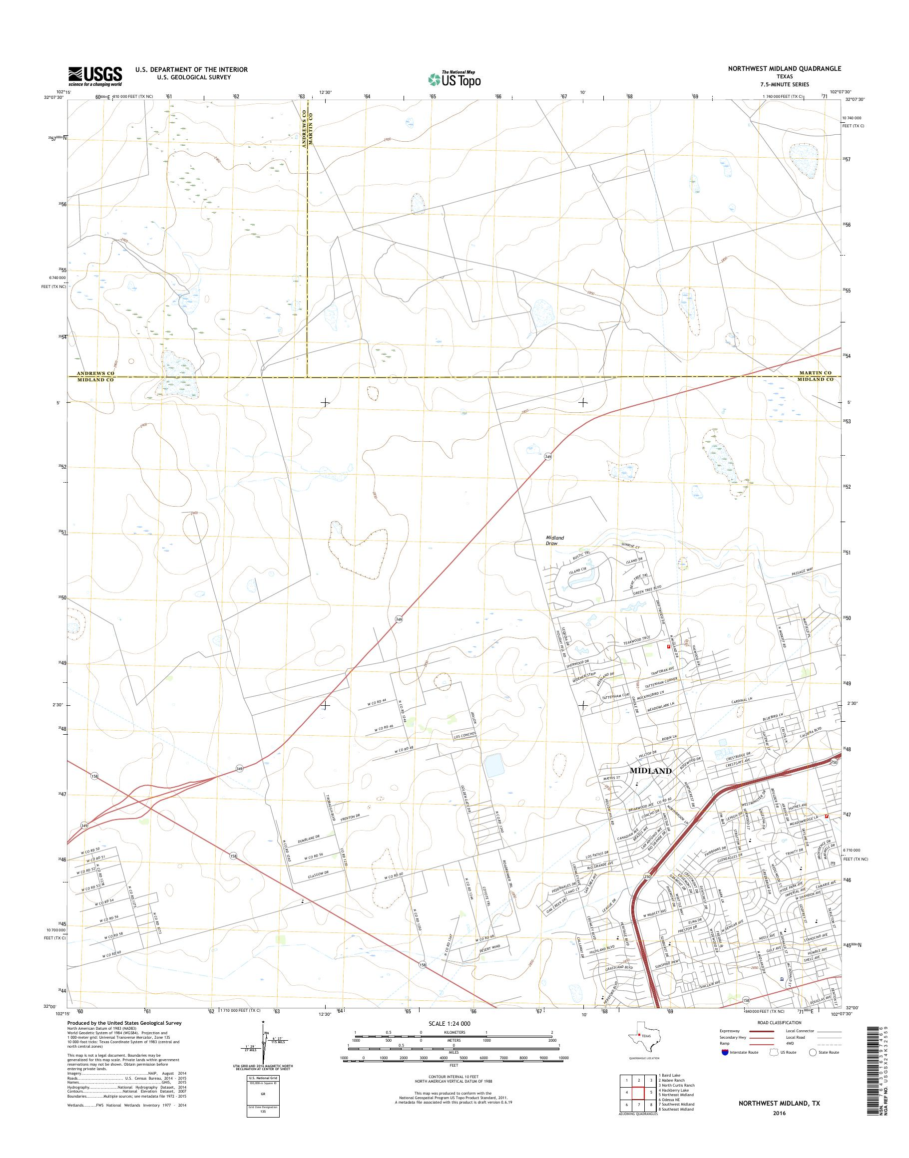 Map Of Northwest Texas.Mytopo Northwest Midland Texas Usgs Quad Topo Map