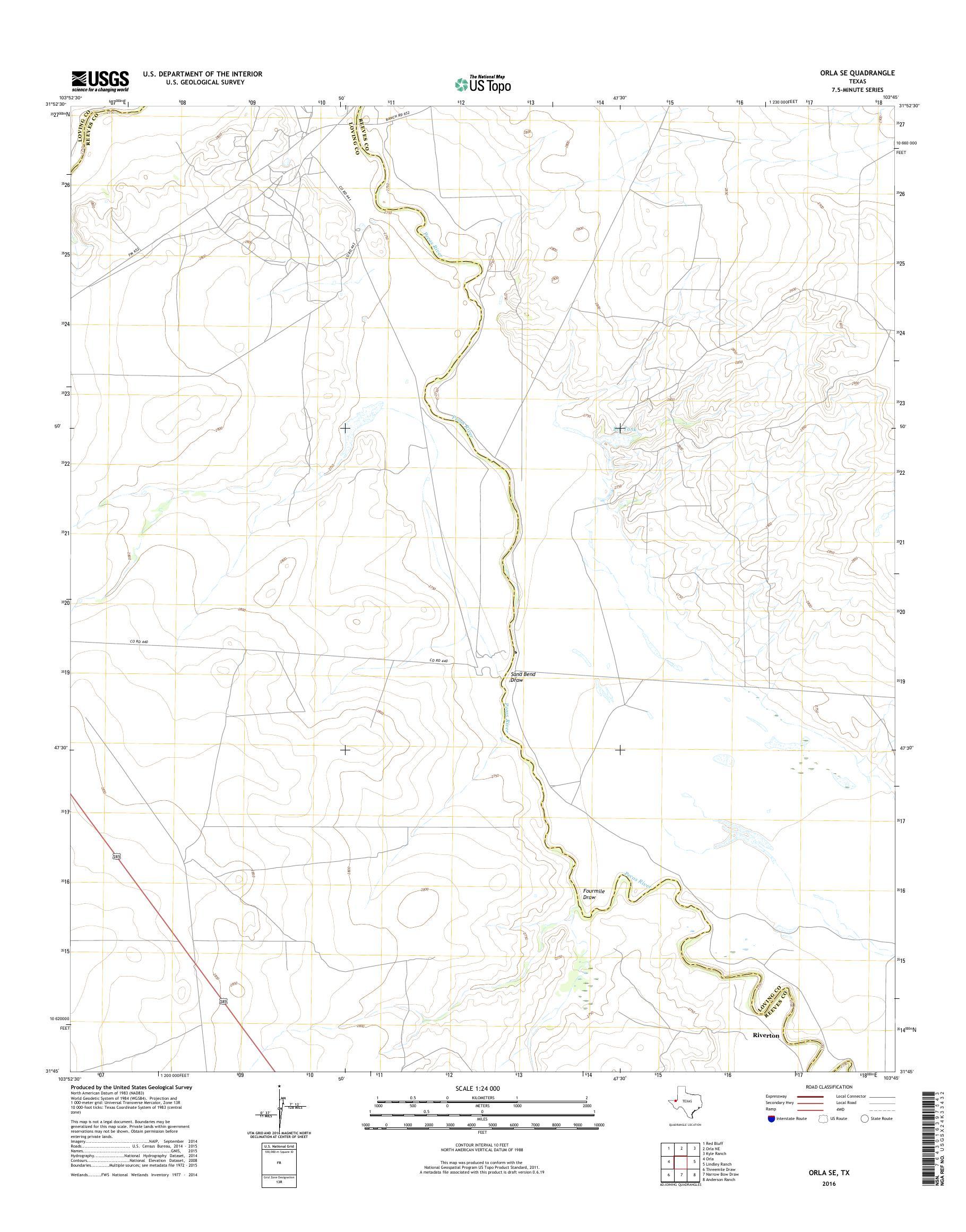 Map Of Texas Kyle.Mytopo Orla Se Texas Usgs Quad Topo Map