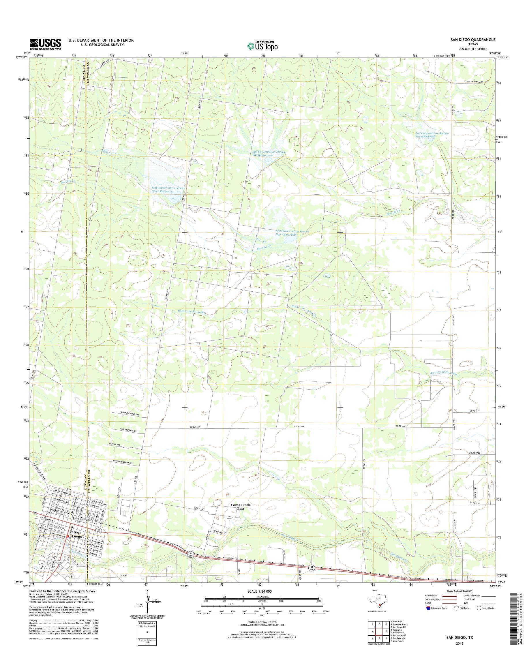 Mytopo San Diego Texas Usgs Quad Topo Map