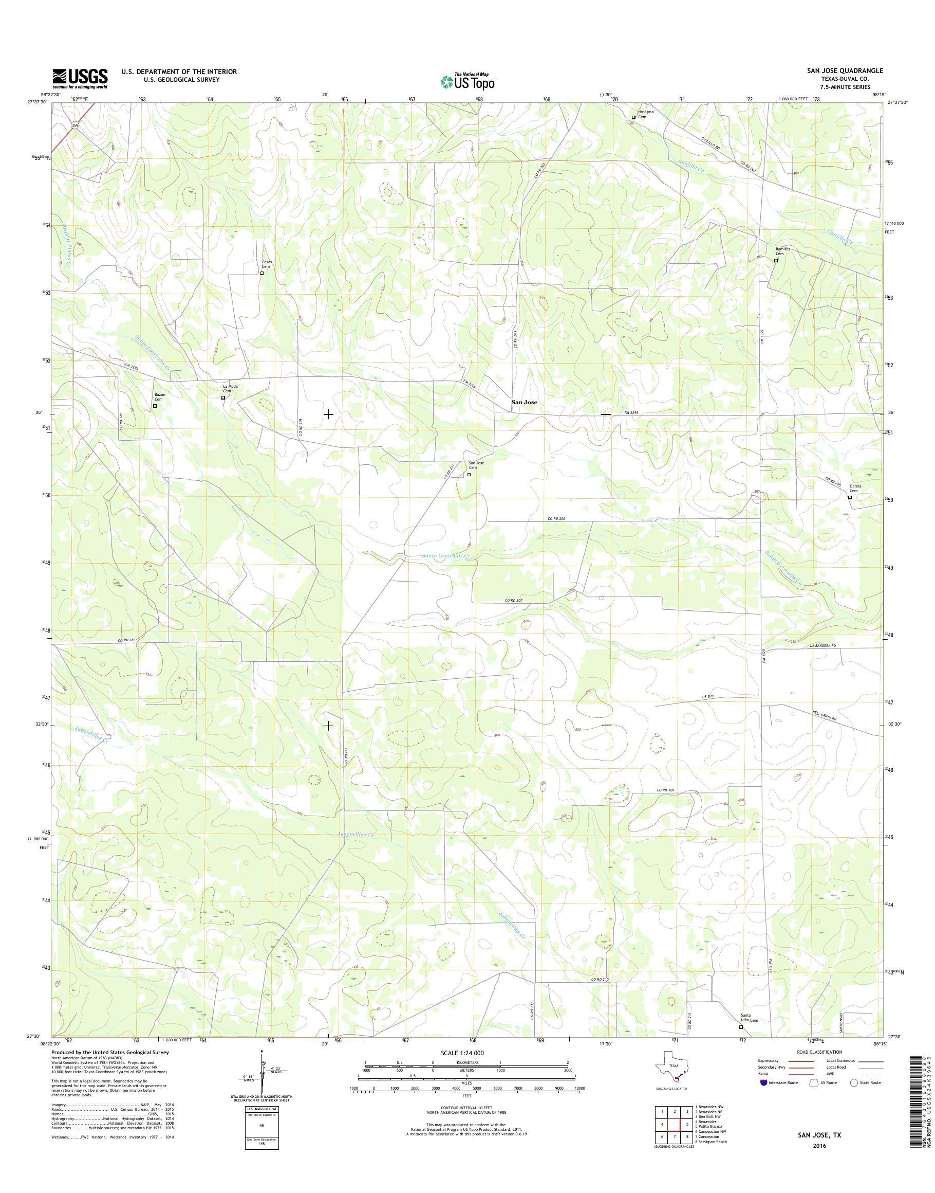 MyTopo San Jose, Texas USGS Quad Topo Map