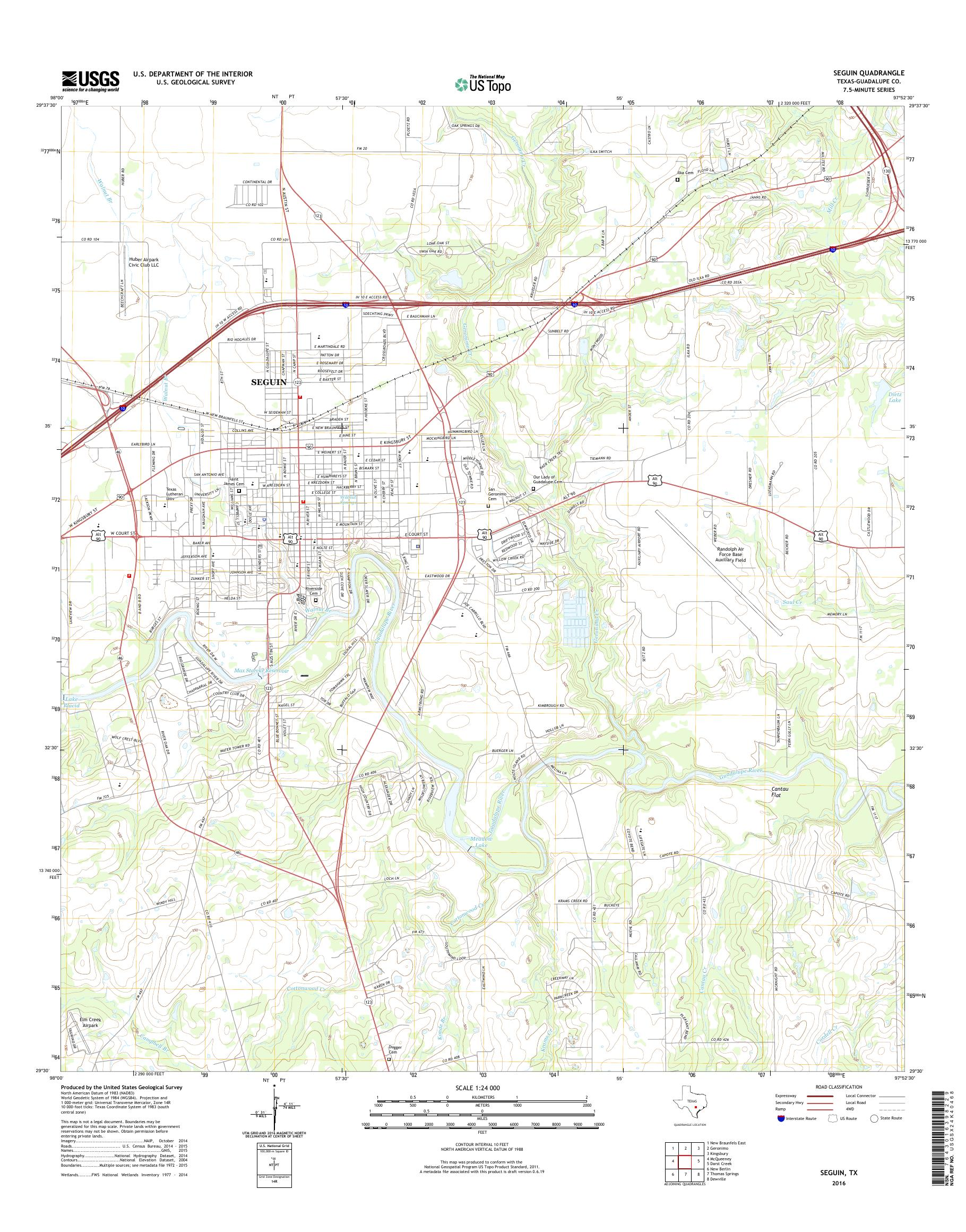 Mytopo Seguin Texas Usgs Quad Topo Map
