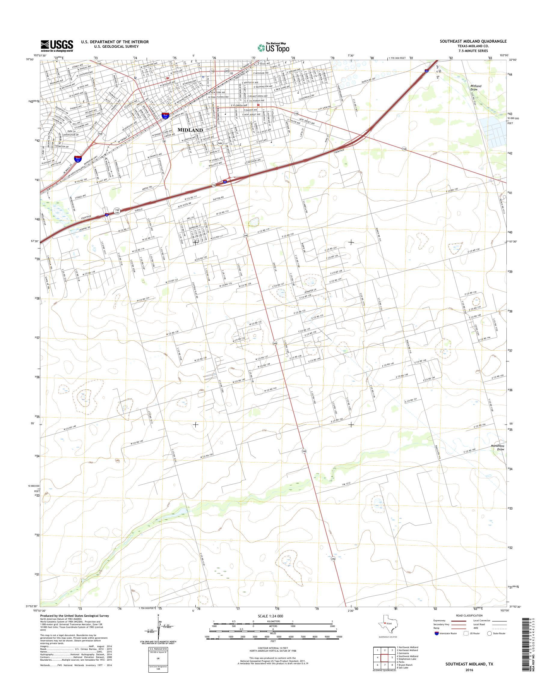 Map Of Texas Midland.Mytopo Southeast Midland Texas Usgs Quad Topo Map