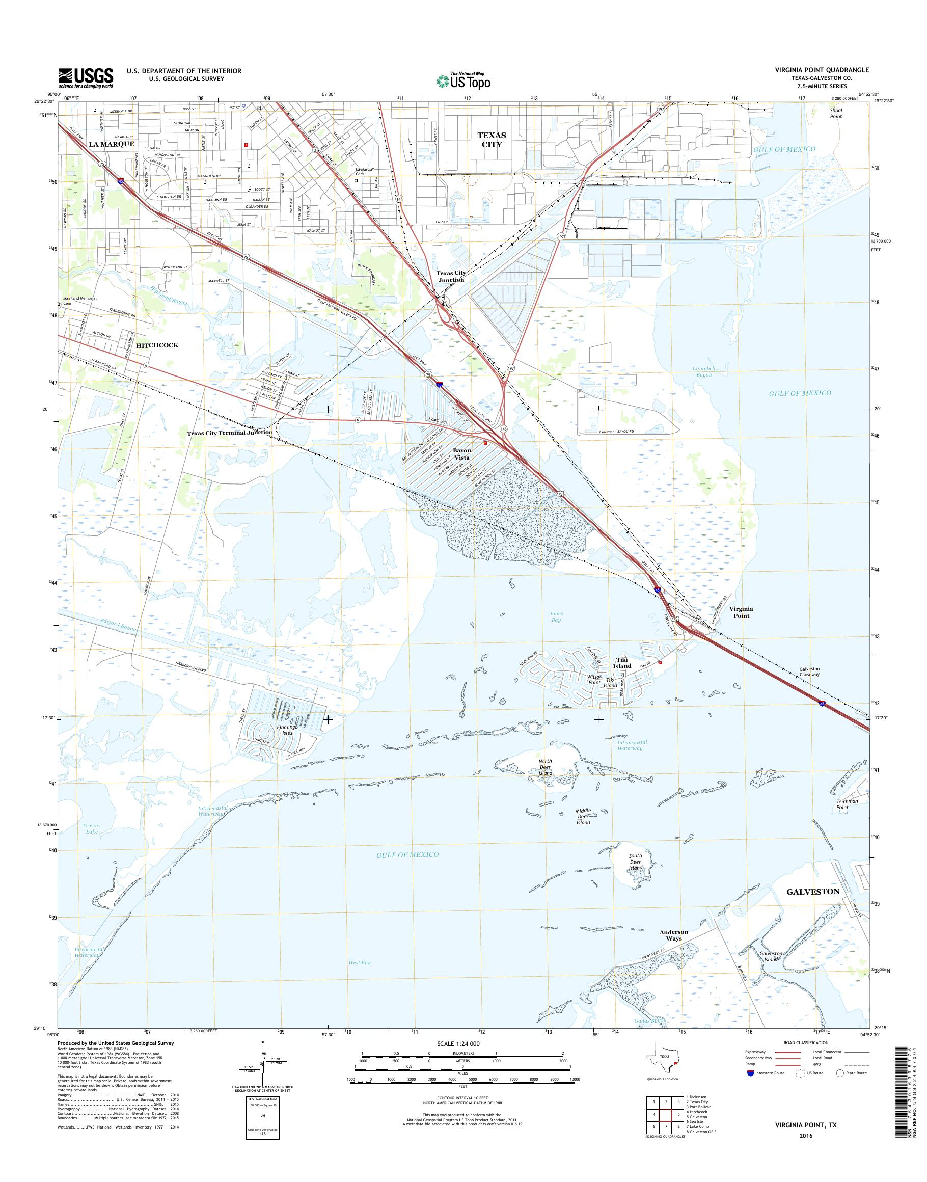 MyTopo Virginia Point, Texas USGS Quad Topo Map on