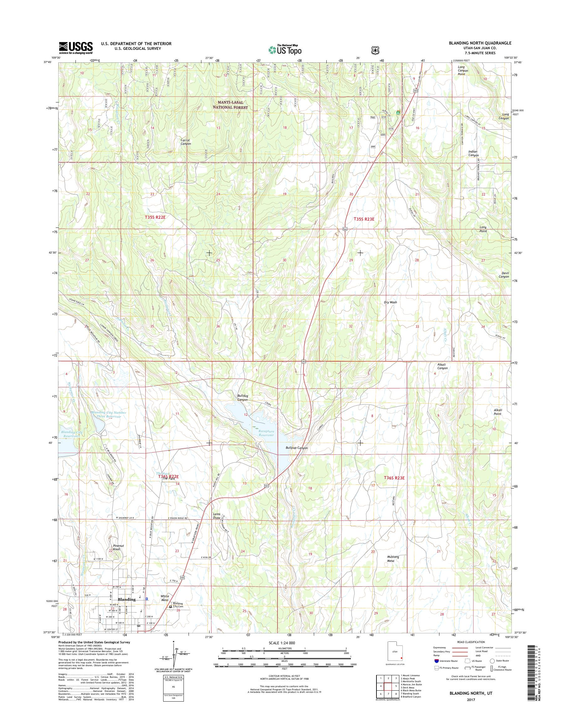 MyTopo Blanding North, Utah USGS Quad Topo Map