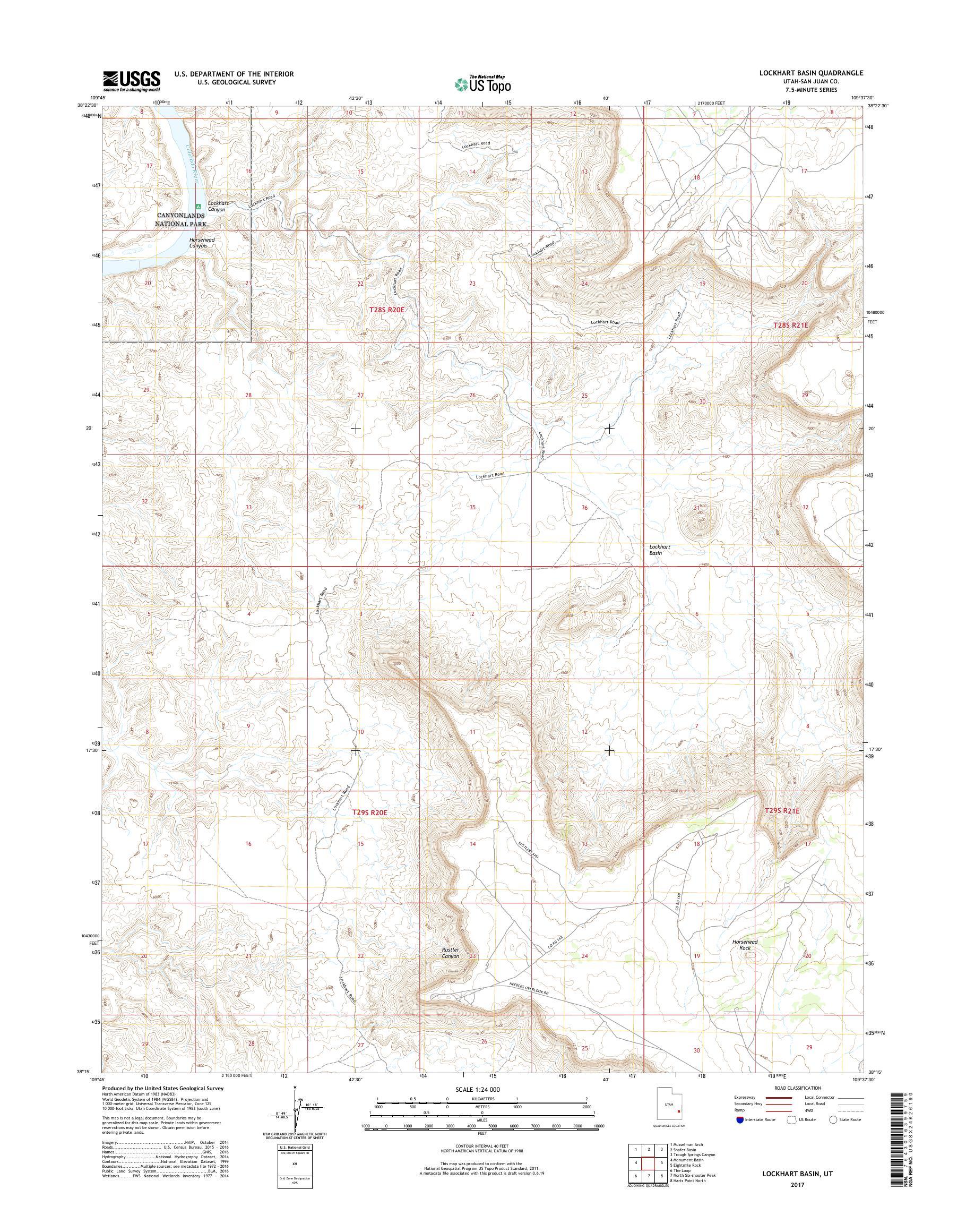 MyTopo Lockhart Basin, Utah USGS Quad Topo Map