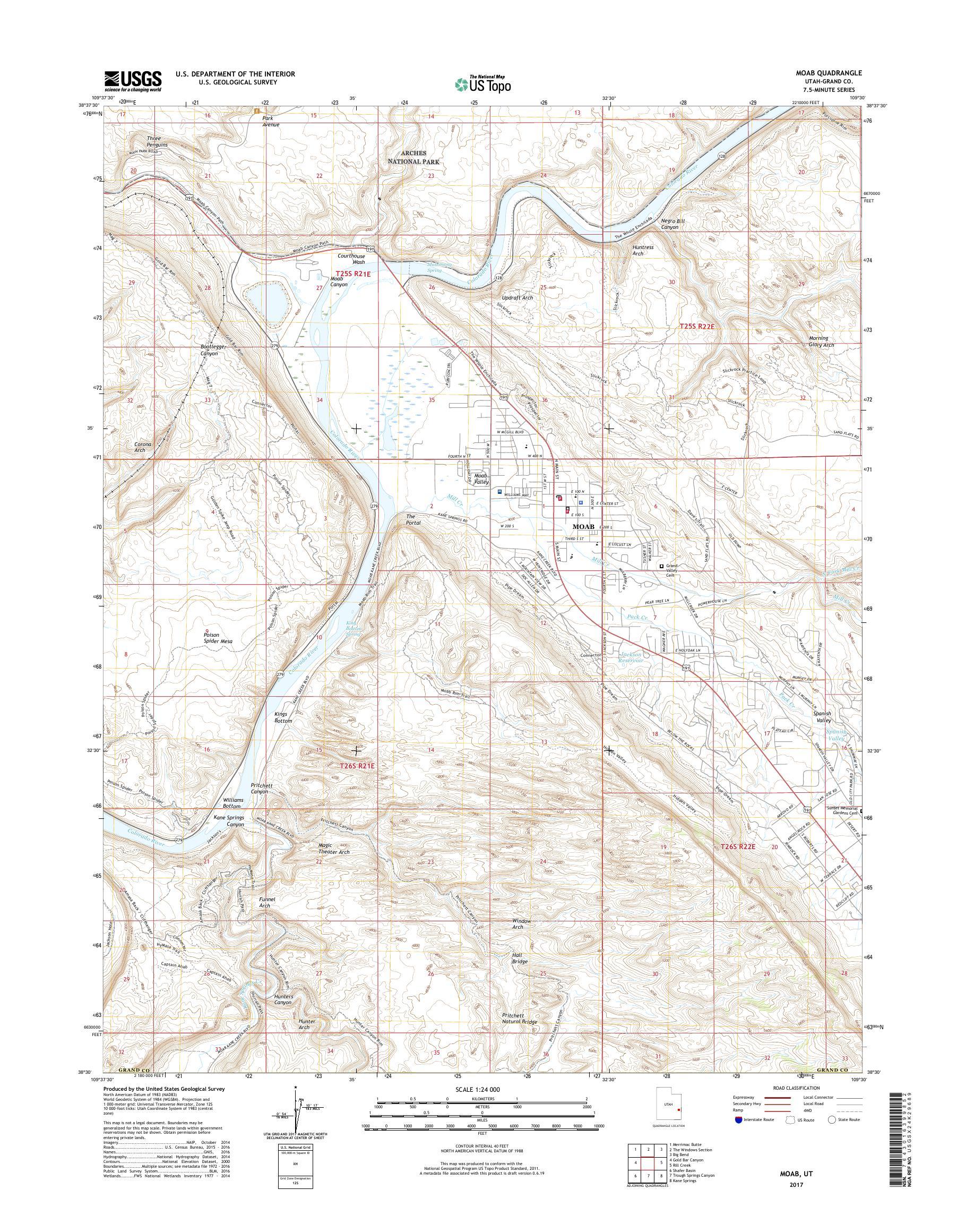 MyTopo Moab, Utah USGS Quad Topo Map