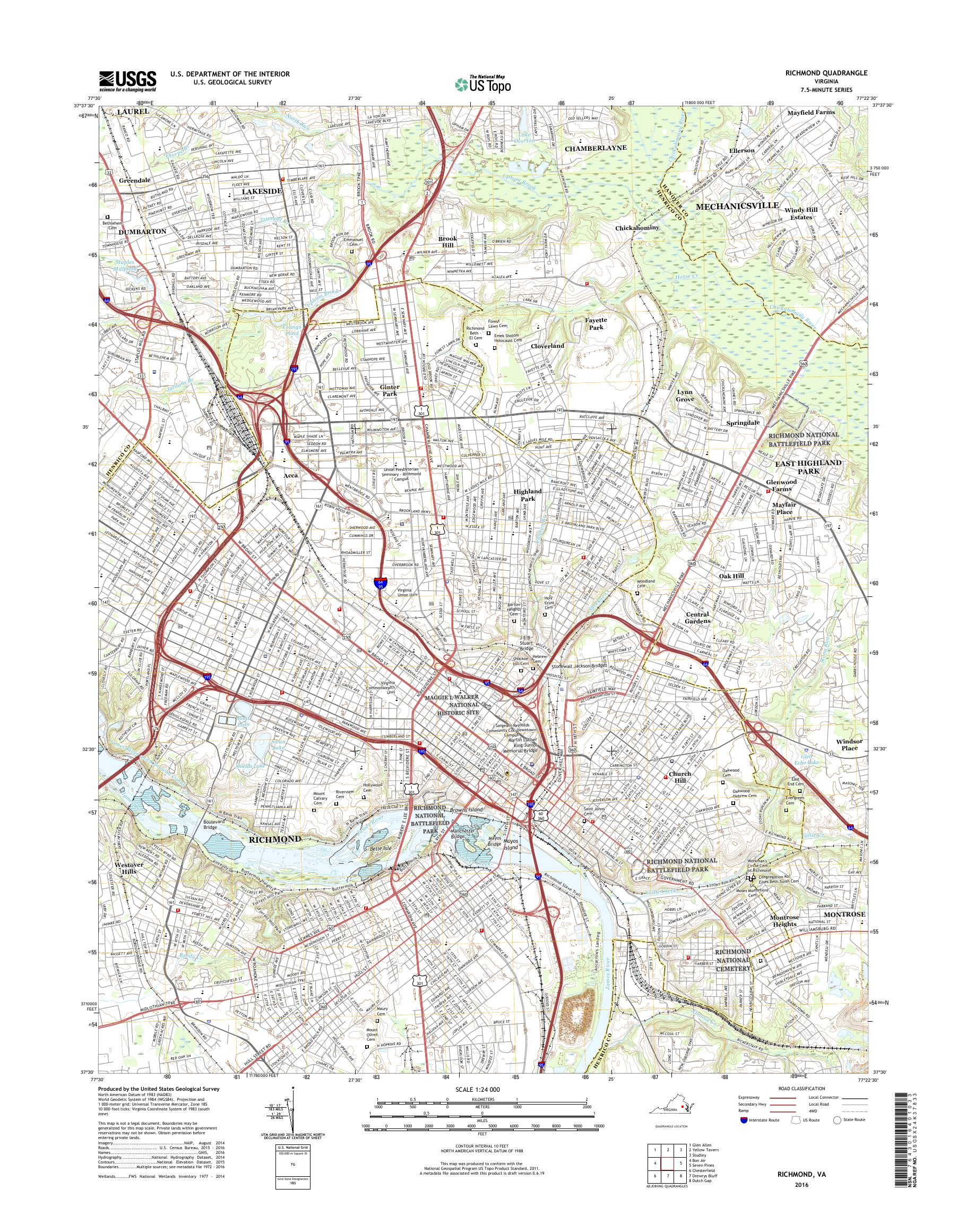 Mytopo Richmond Virginia Usgs Quad Topo Map - Richmond-virginia-on-us-map