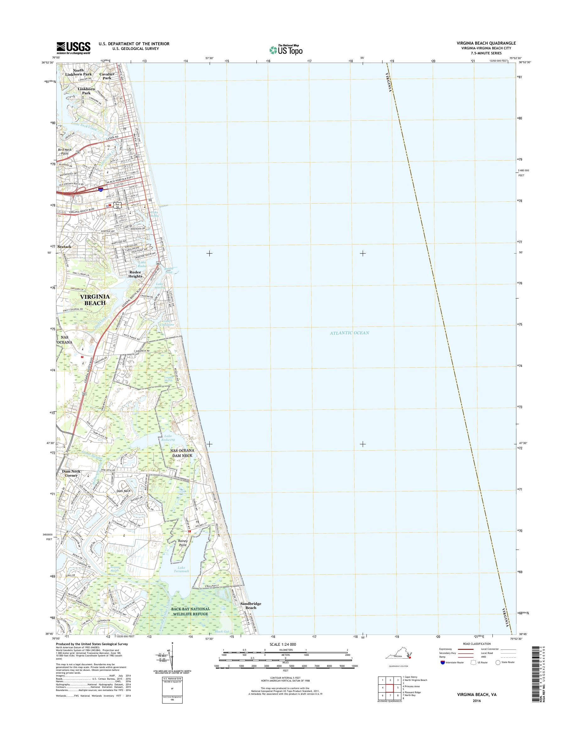 MyTopo Virginia Beach, Virginia USGS Quad Topo Map