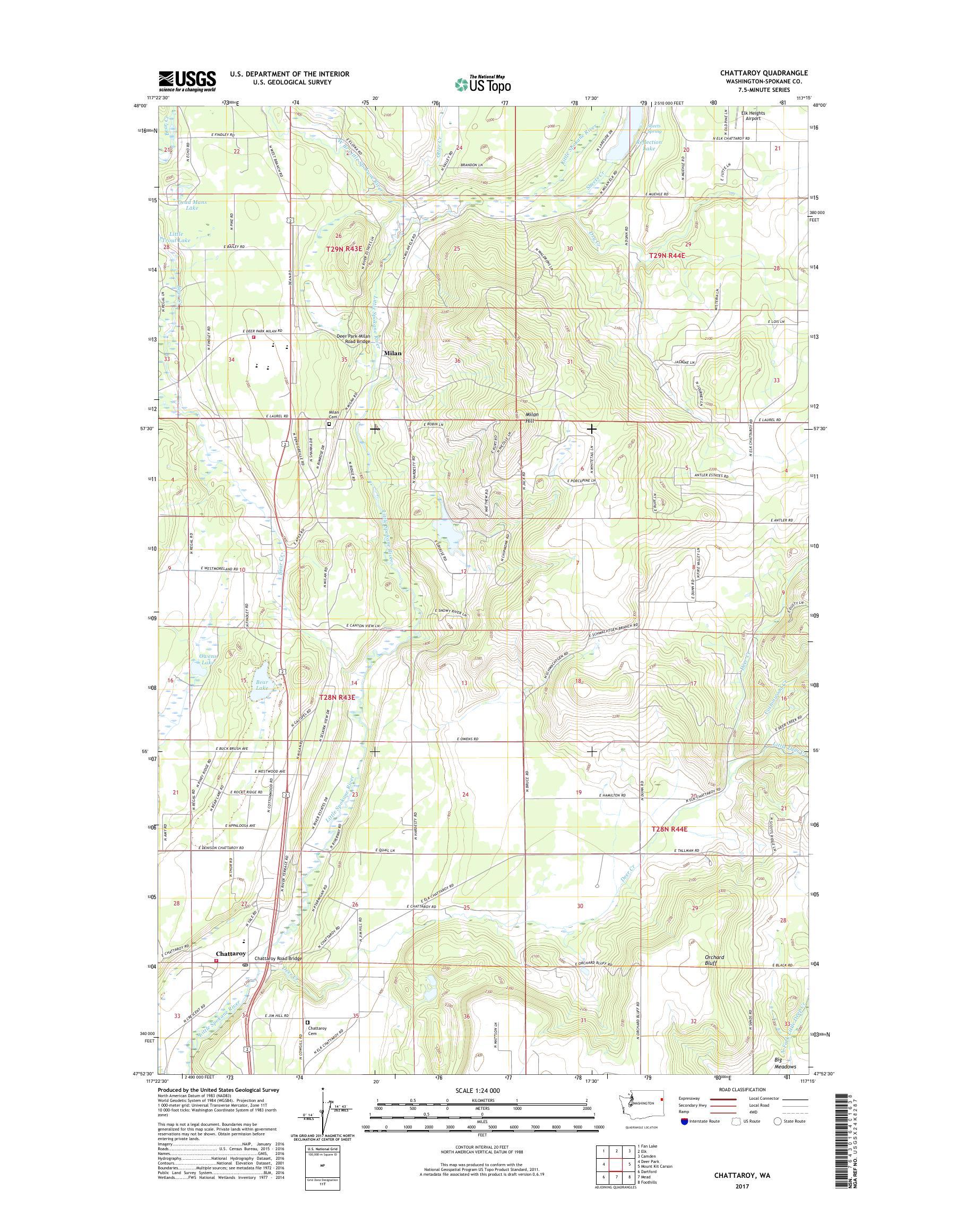 MyTopo Chattaroy, Washington USGS Quad Topo Map on
