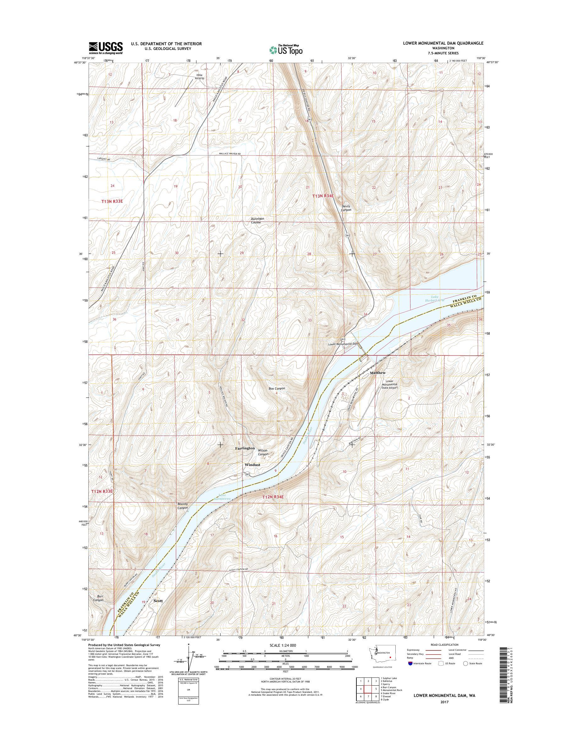 MyTopo Lower Monumental Dam, Washington USGS Quad Topo Map