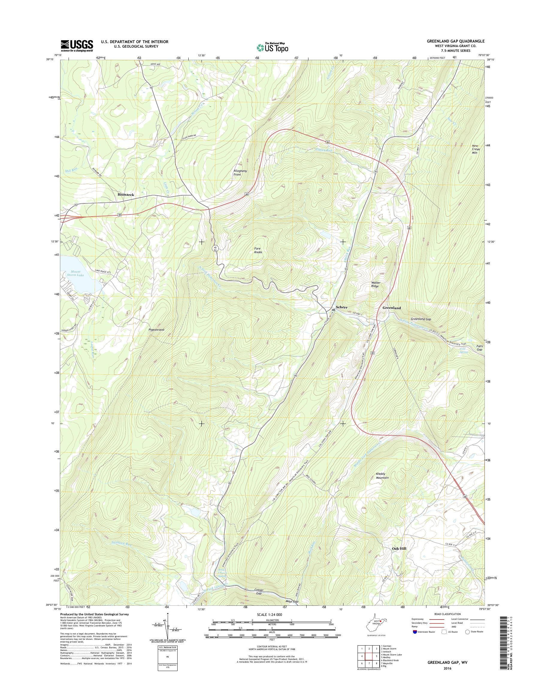 MyTopo Greenland Gap, West Virginia USGS Quad Topo Map