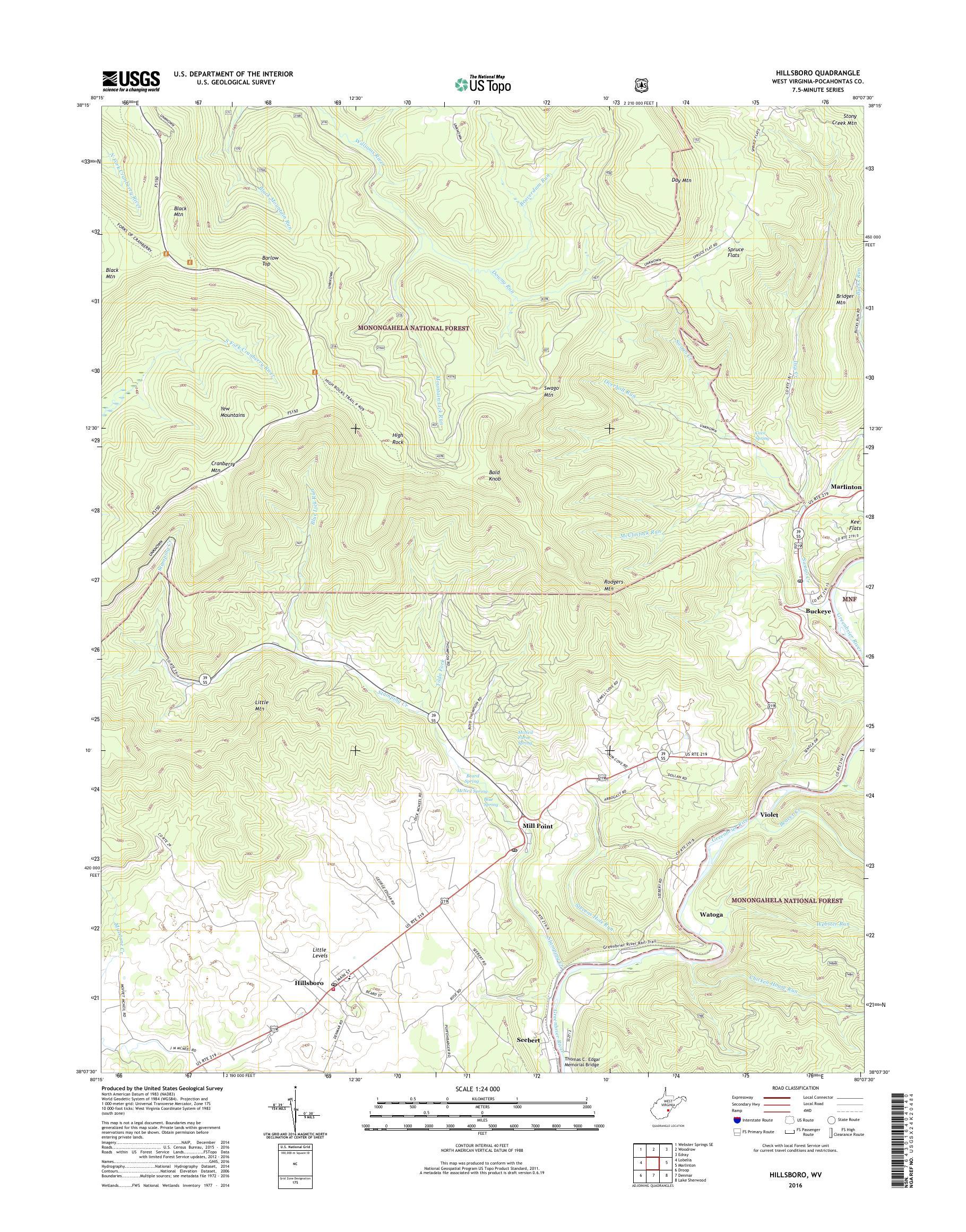 MyTopo Hillsboro, West Virginia USGS Quad Topo Map