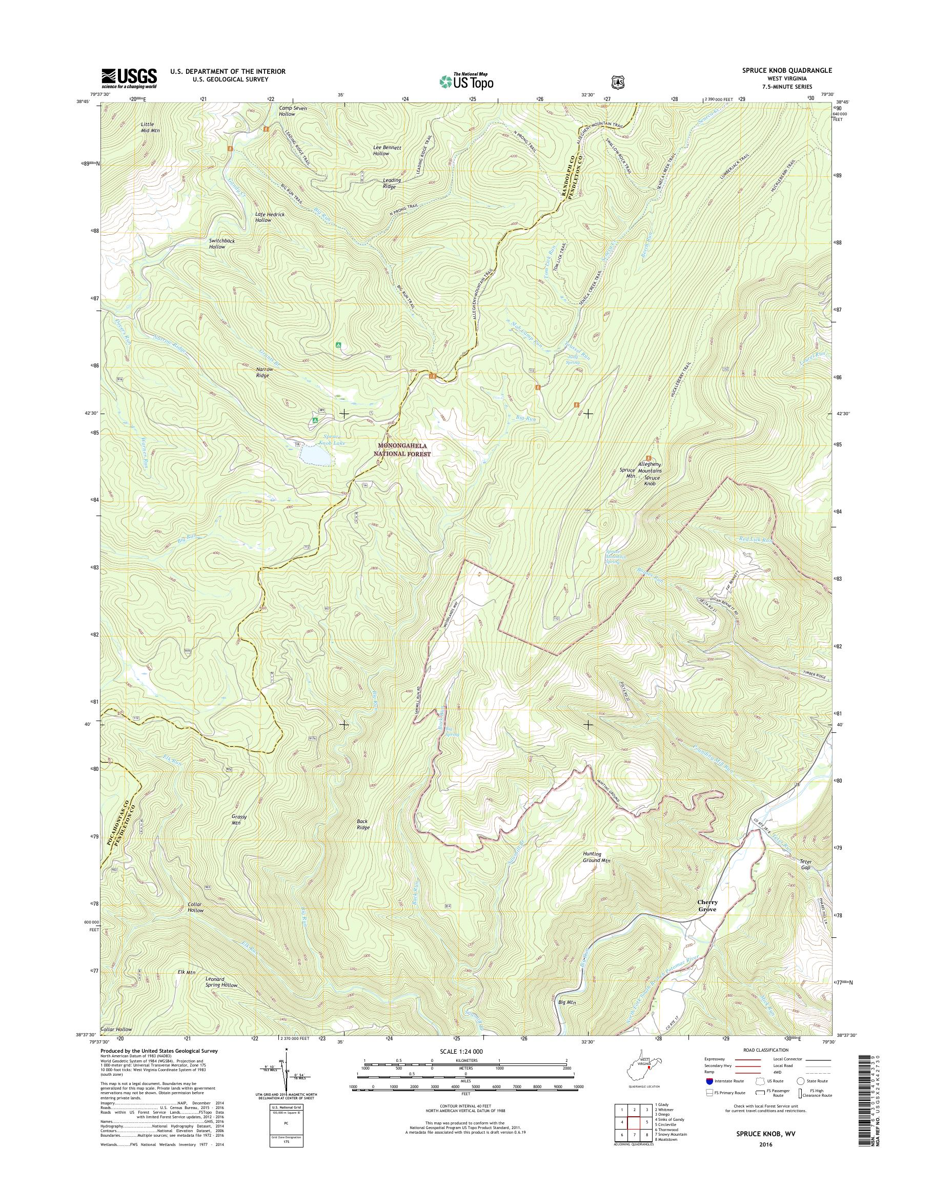 Picture of: Mytopo Spruce Knob West Virginia Usgs Quad Topo Map