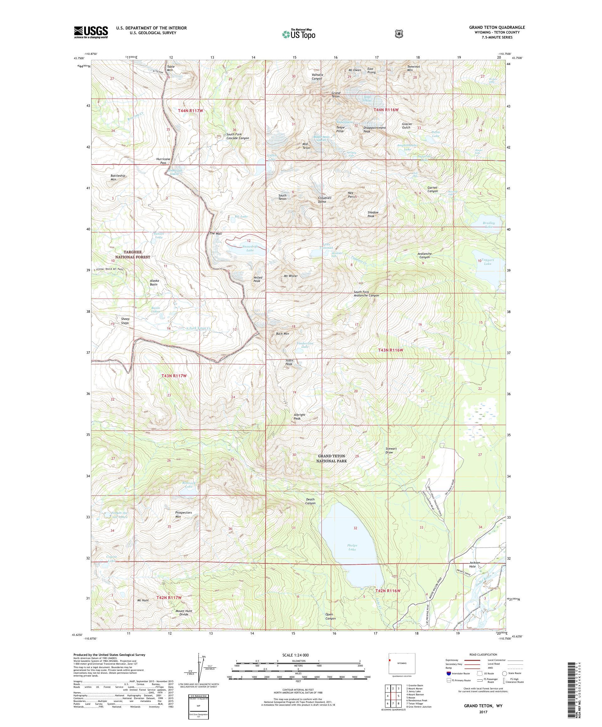 MyTopo Grand Teton, Wyoming USGS Quad Topo Map