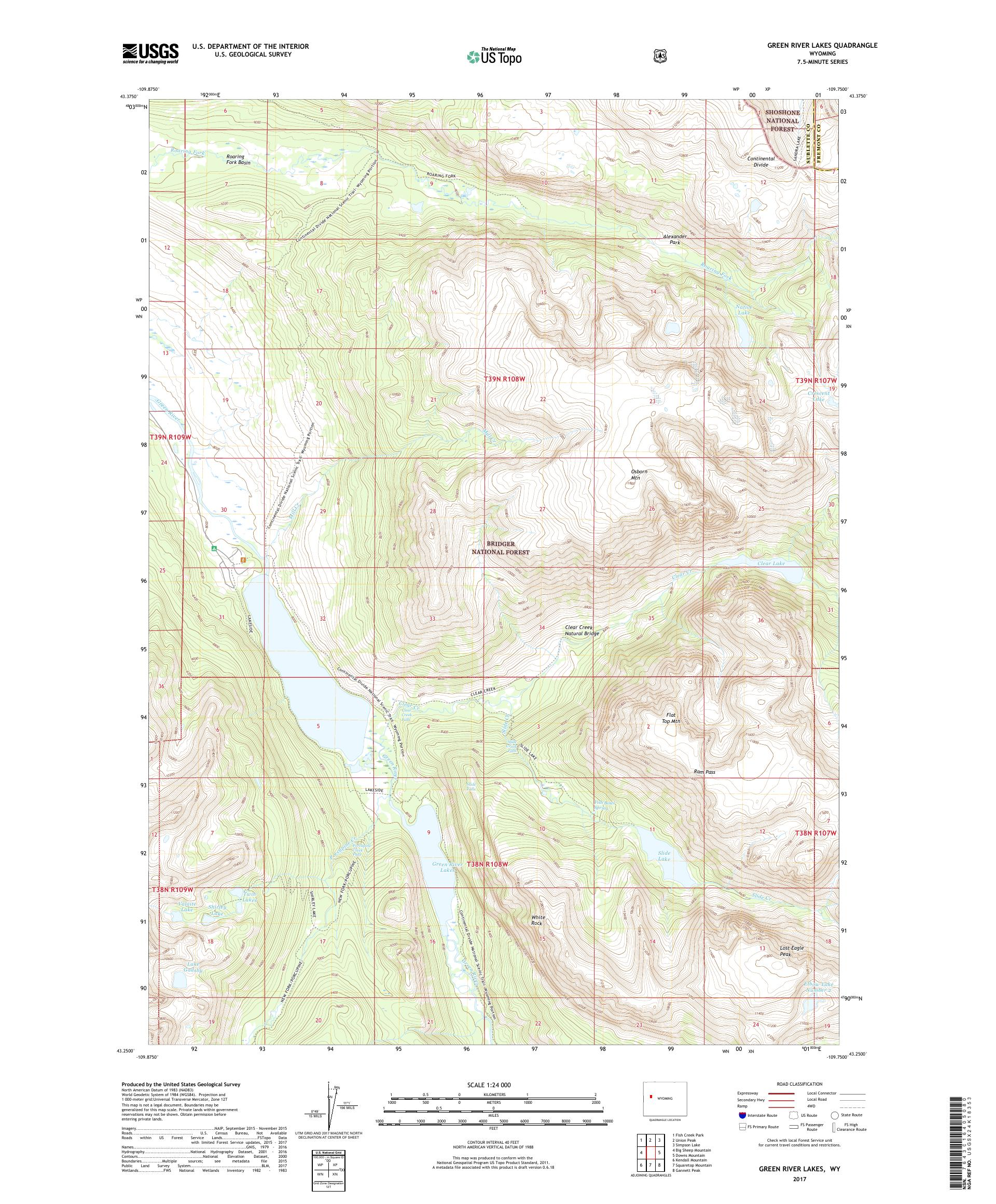 MyTopo Green River Lakes, Wyoming USGS Quad Topo Map