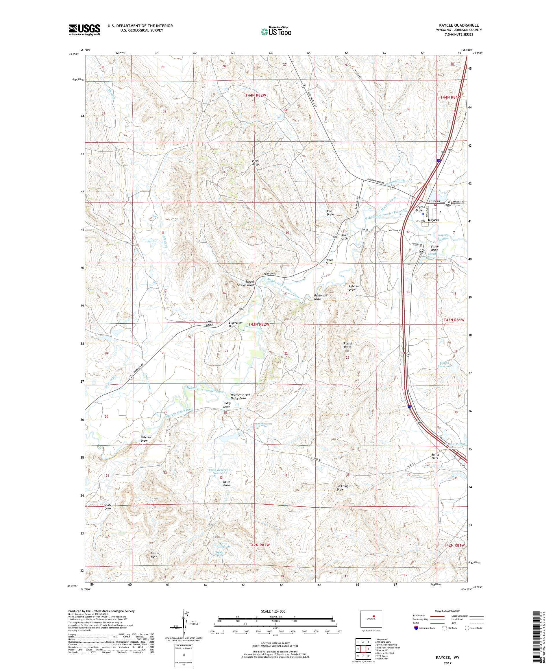 MyTopo Kaycee, Wyoming USGS Quad Topo Map on rock springs wyoming on us map, laramie wyoming on us map, cheyenne wyoming on us map, green river wyoming on us map,