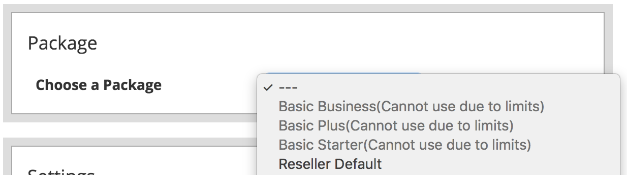 Can't Create Package Limits