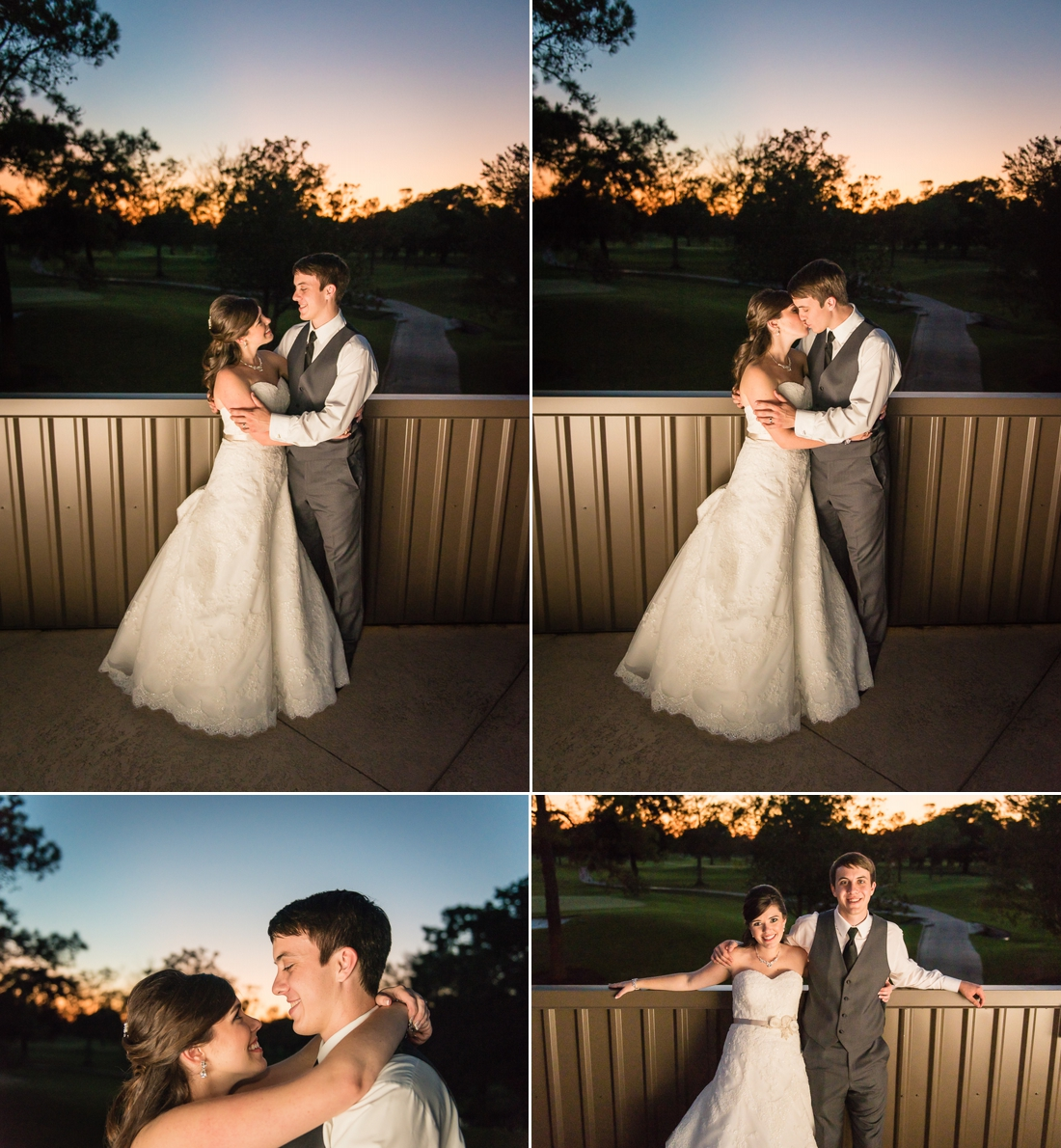 Pine Forest Country Club Wedding Night Portraits with Bride and Groom