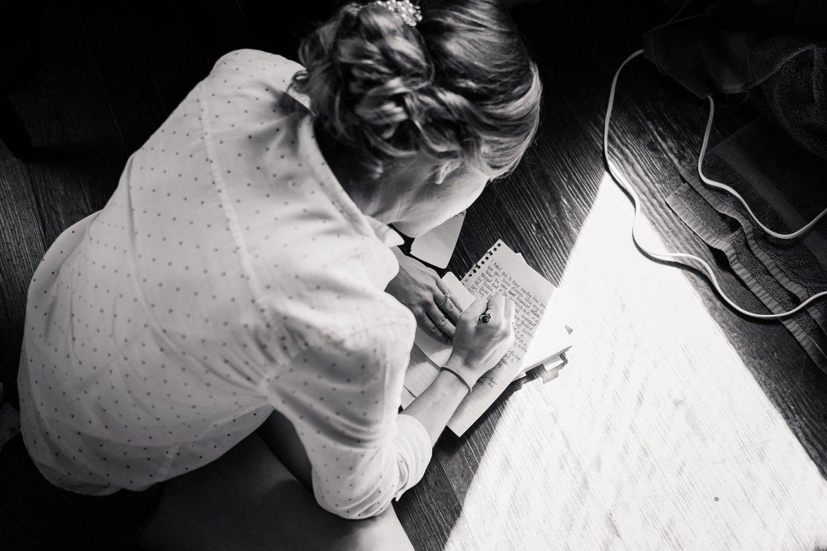 Montesino Ranch Wedding bride writing vows