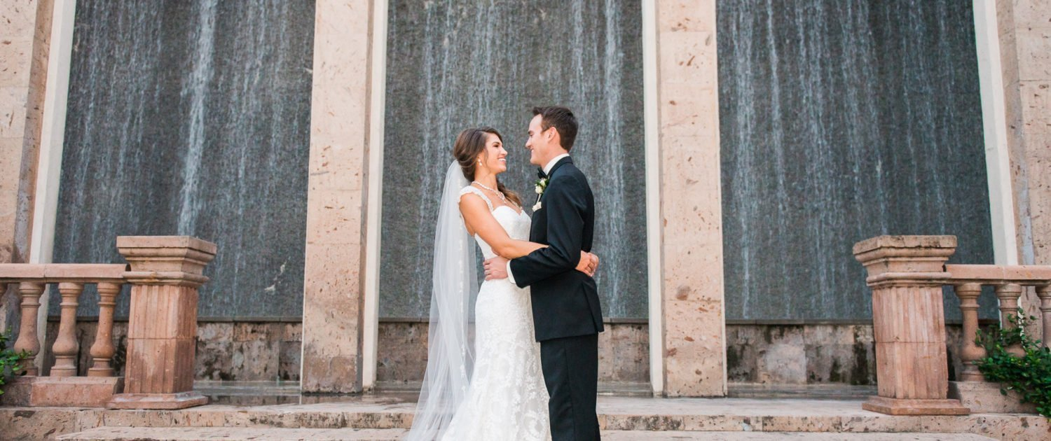 Bell Tower on 34th Wedding Bride and Groom with waterwall
