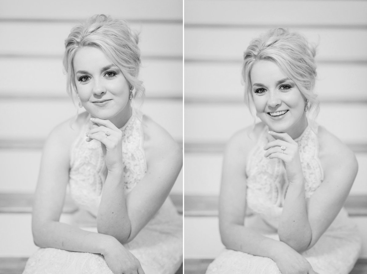 Black and White Bridal Photos at The Farmhouse