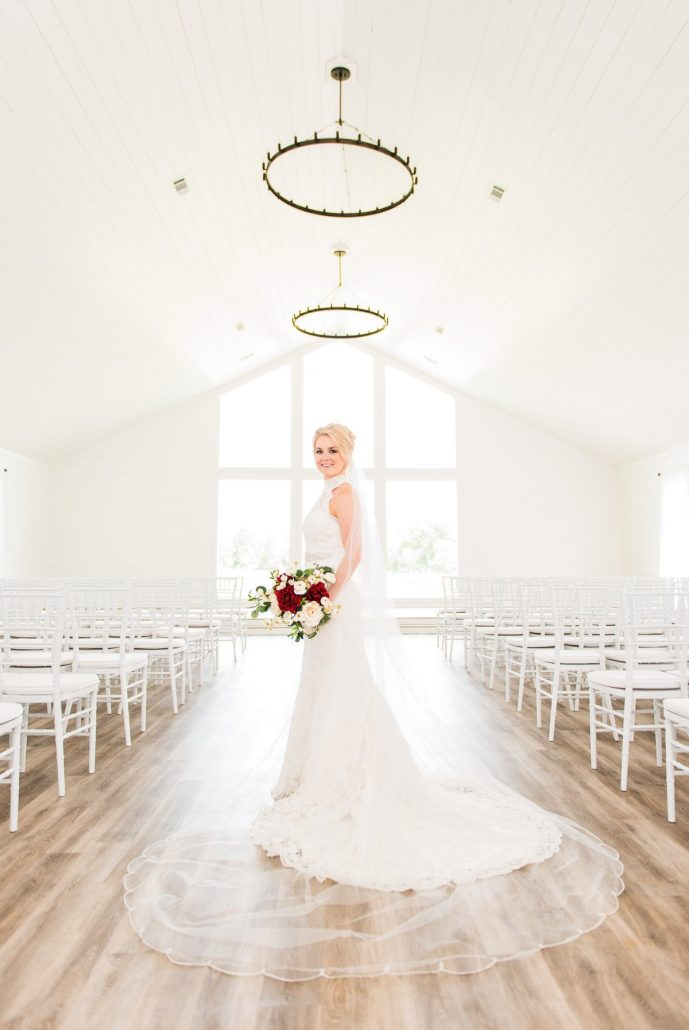The Farmhouse Bridal Portrait in White Chapel