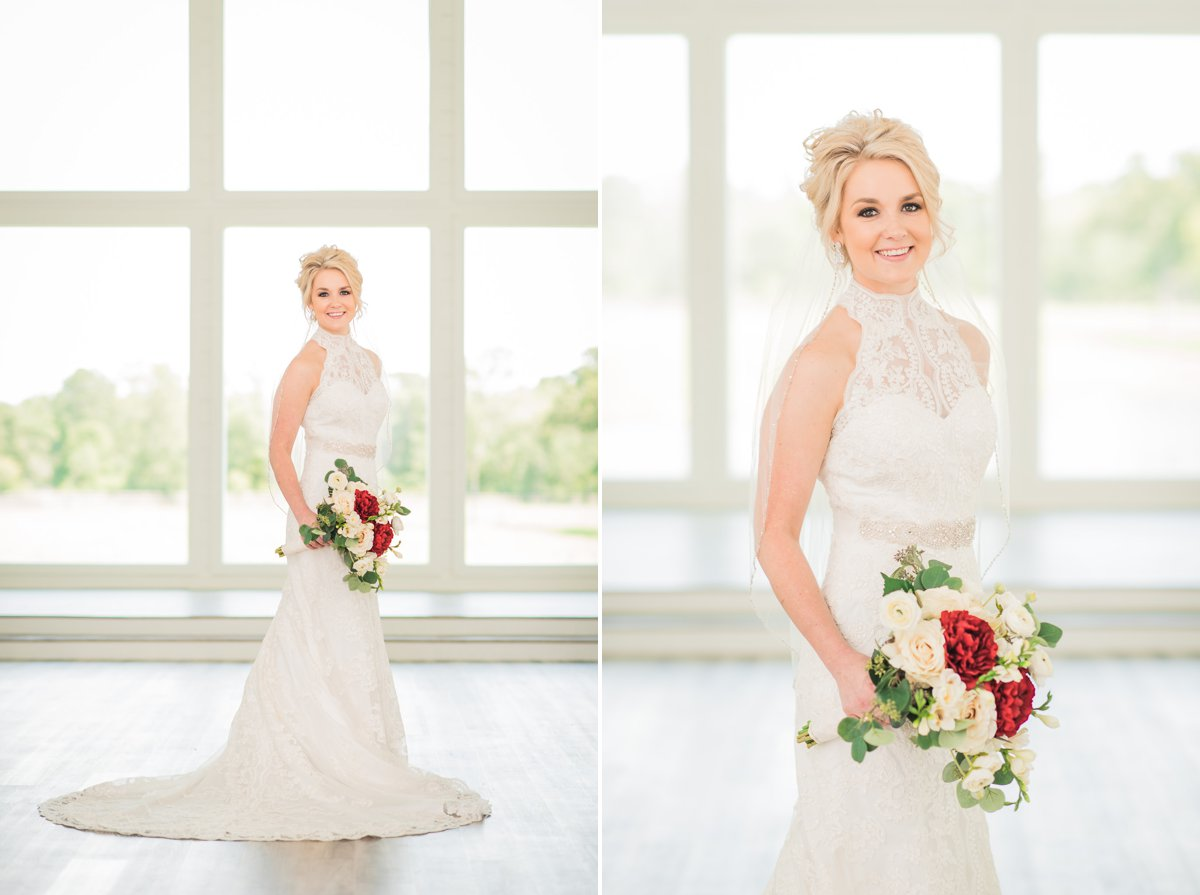 The Farmhouse Bridal Portraits in white chapel