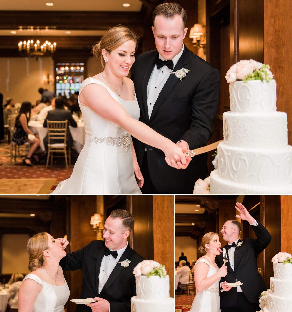 Lauren & Ben Wedding Cake cutting Photo
