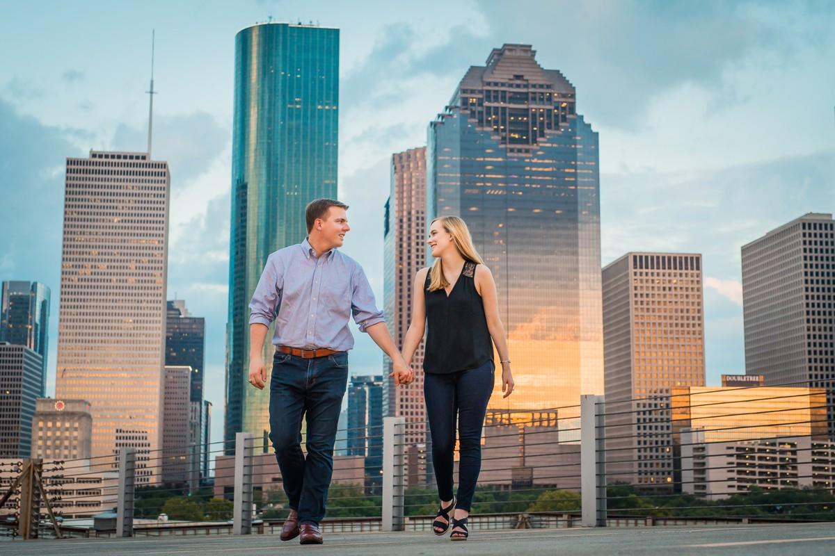 Engagement Photography Houston with Skyline