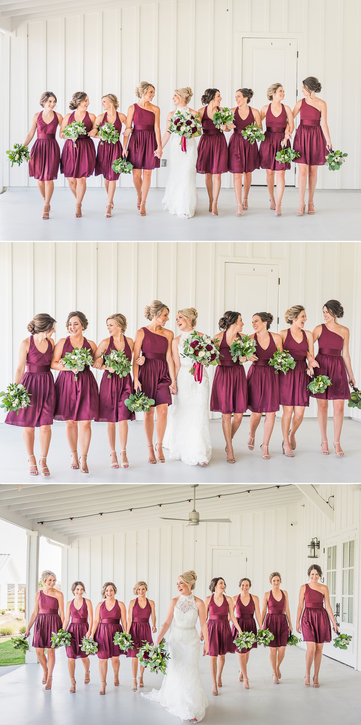 The Farmhouse Wedding Bride and Bridesmaids with Cranberry dresses