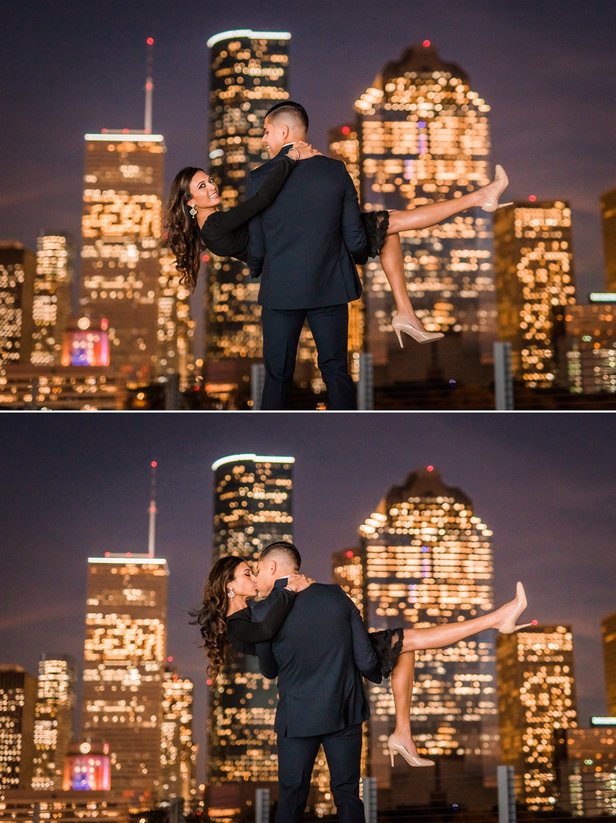 Classy Engagement Portraits Houston Skyline