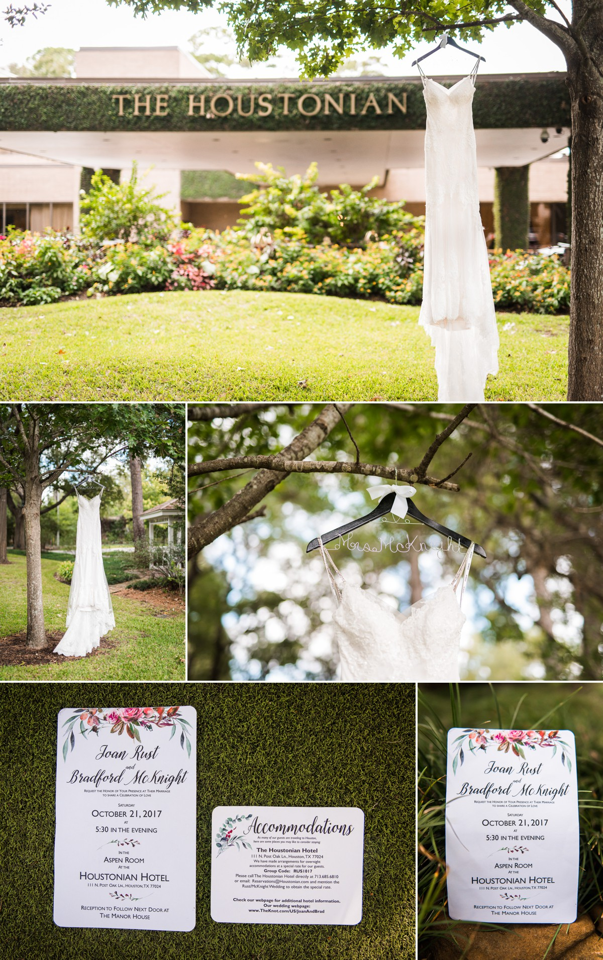 Manor House Wedding at The Houstonian Hotel Wedding Dress and Invitations