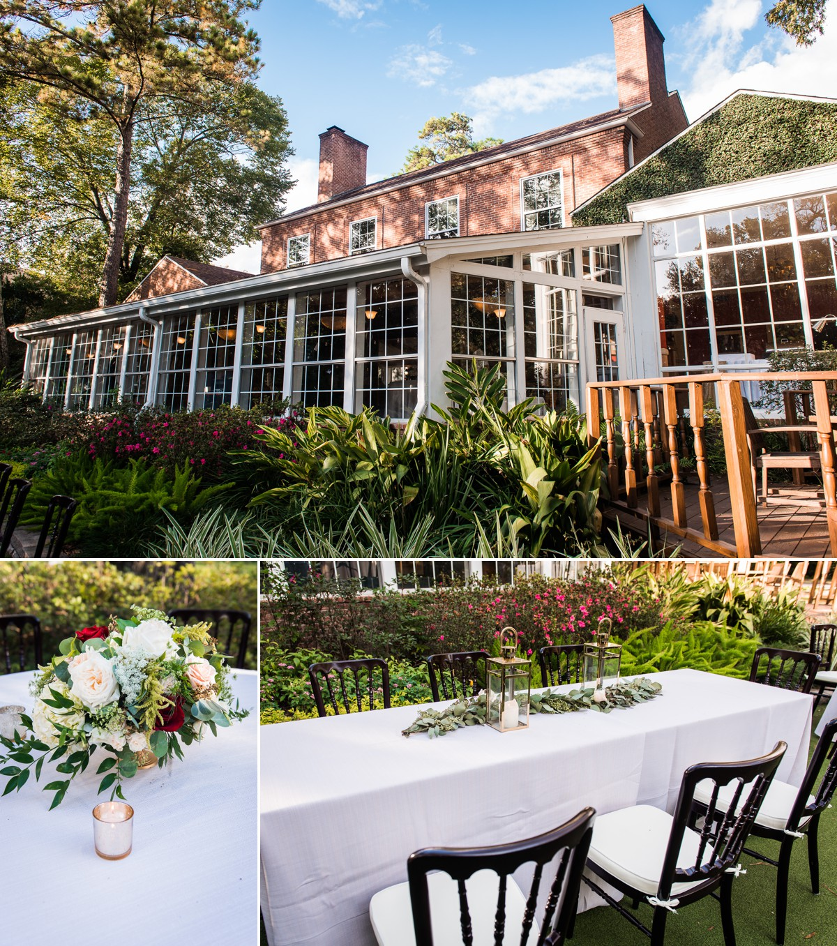 Manor House Wedding at The Houstonian Hotel Outdoor Venue and Table decor