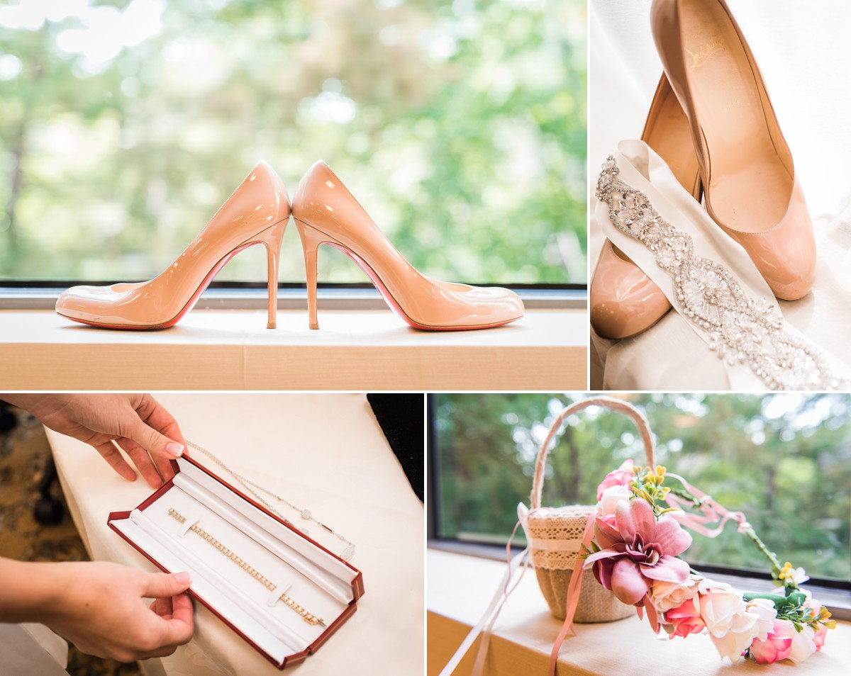 Manor House Wedding at The Houstonian Hotel Bridal details jewelry shoes