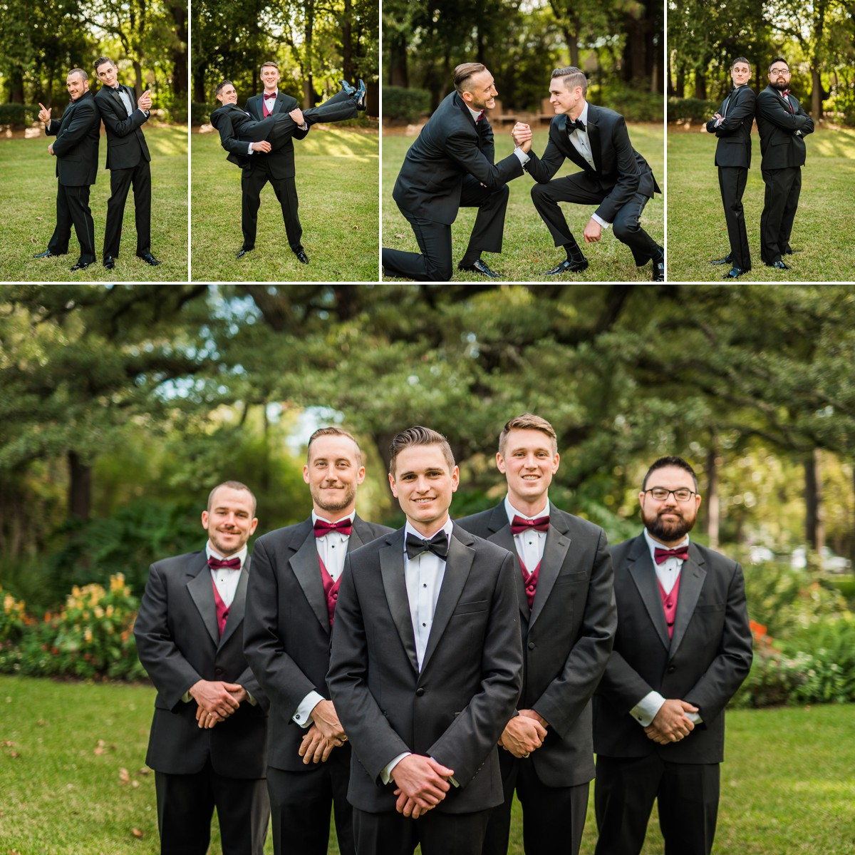 Manor House Wedding at The Houstonian Hotel Groom with Groomsmen