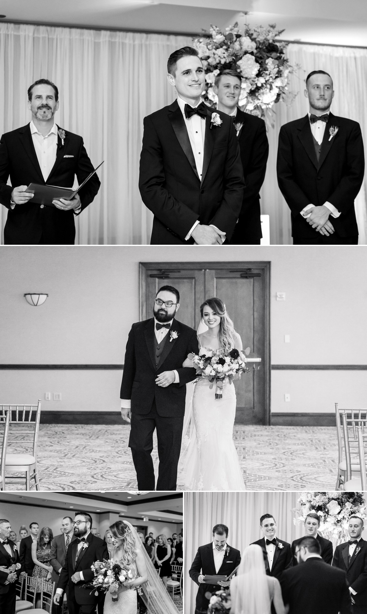 Manor House Wedding at The Houstonian Hotel Ceremony Black and White Bride and Groom