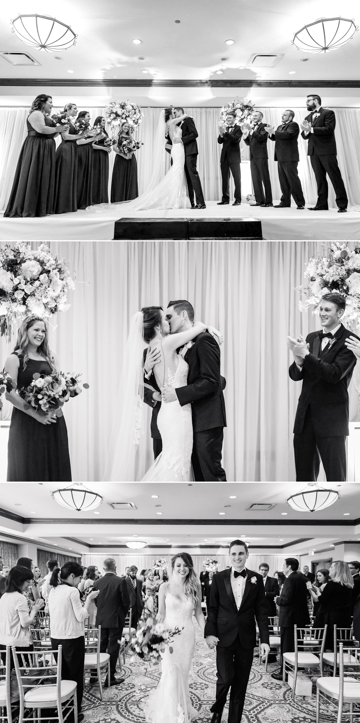 Manor House Wedding at The Houstonian Hotel Ceremony Bride and Groom Kiss