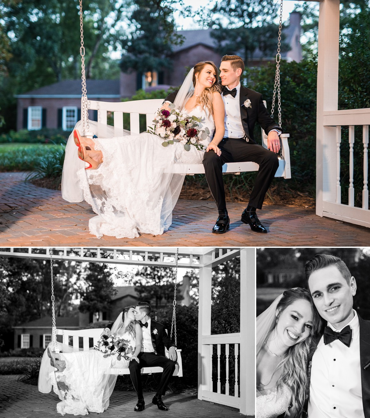 Manor House Wedding at The Houstonian Hotel Bride and Groom outdoor swing reception