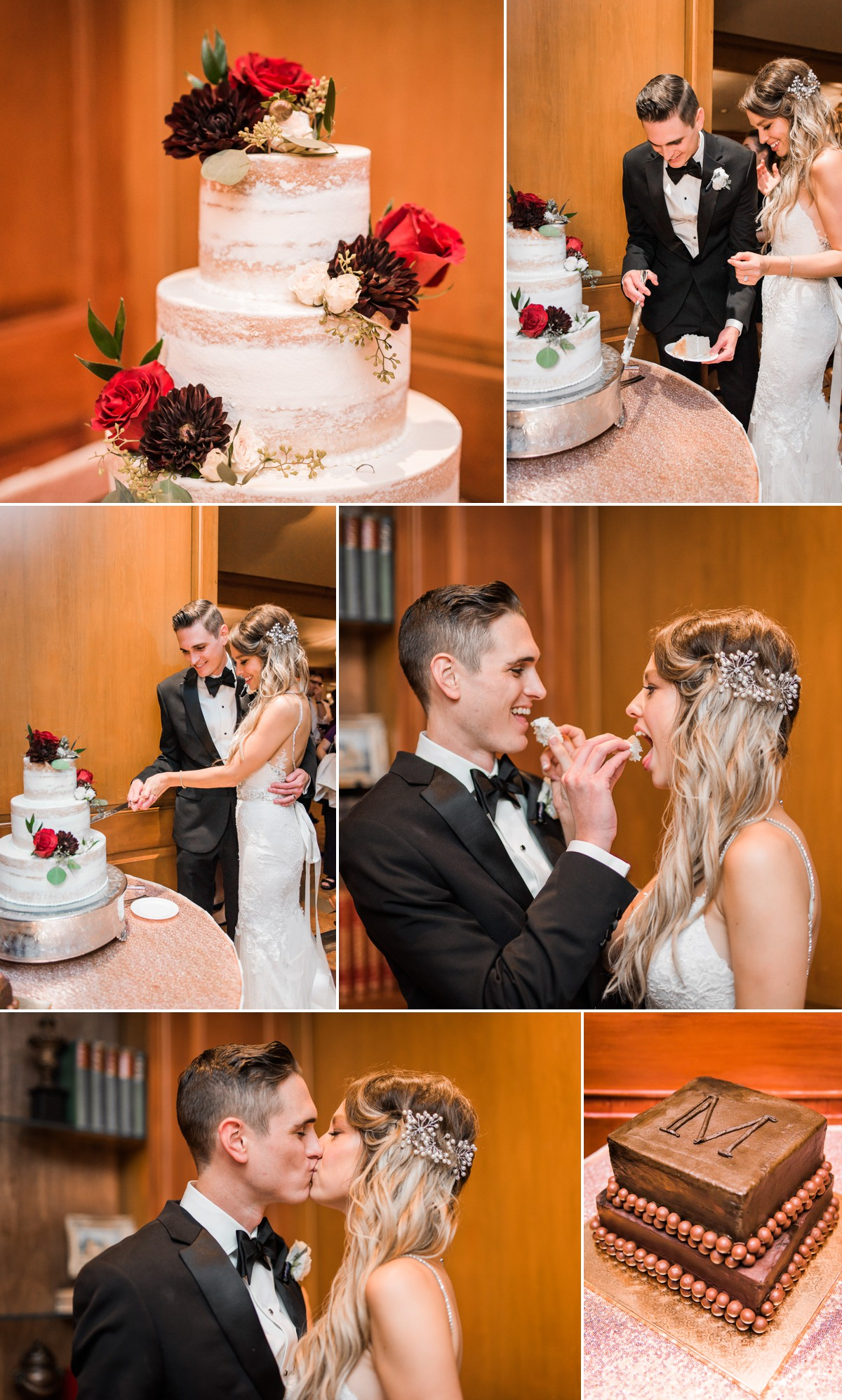 Manor House Wedding at The Houstonian Hotel Cake Cutting Bride and Groom