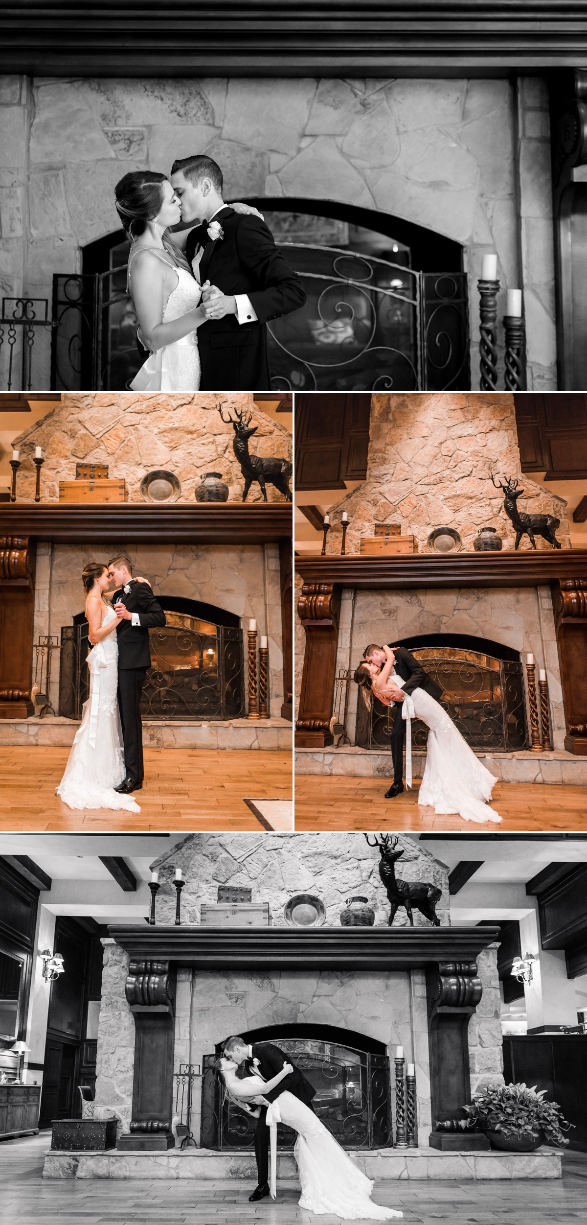 Manor House Wedding at The Houstonian Hotel Bride and Groom Fireplace Portraits