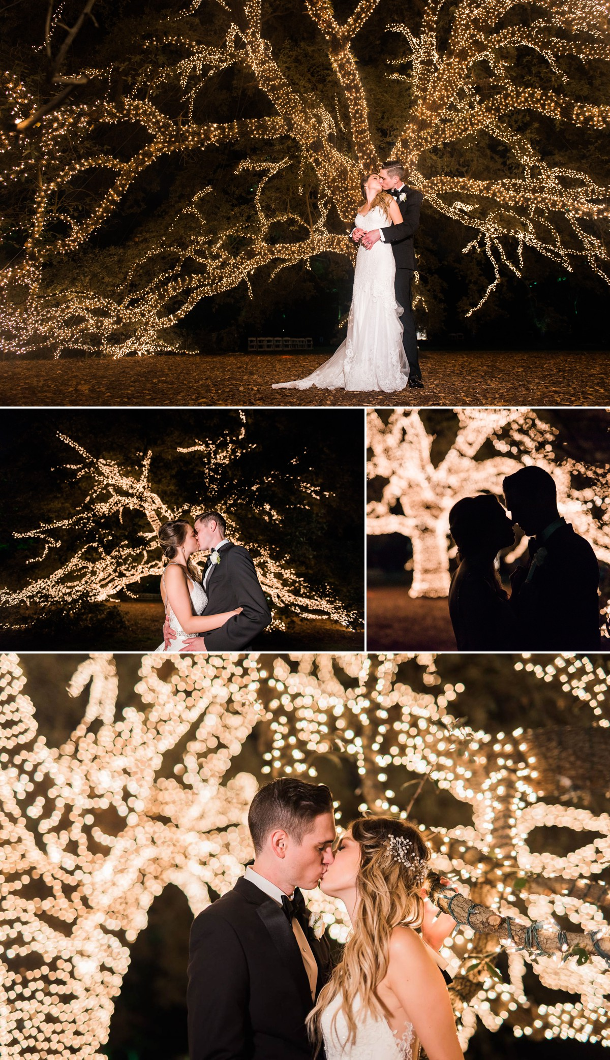Manor House Wedding at The Houstonian Hotel Bride and Groom Outdoor Tree Portraits Night time