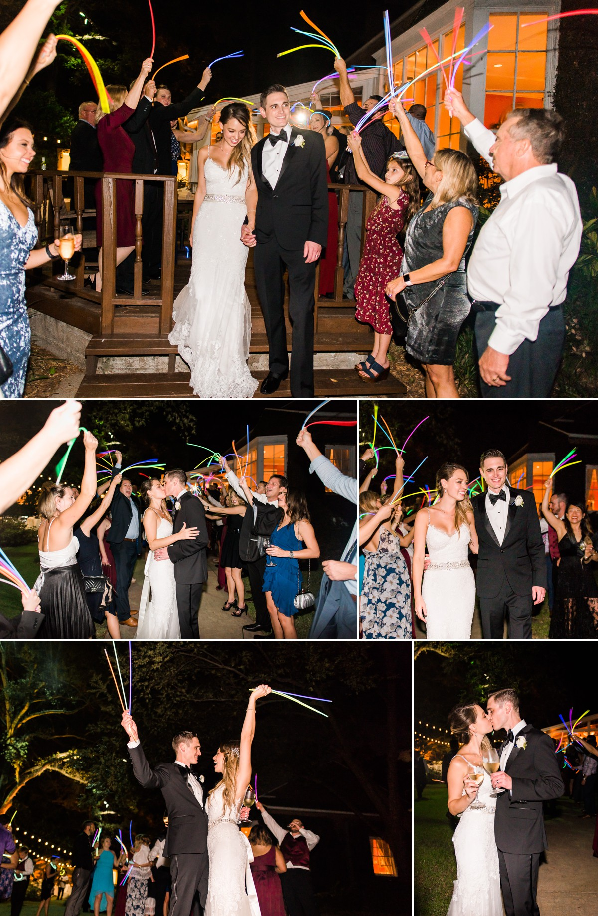 Manor House Wedding at The Houstonian Hotel Reception Exit Glow sticks Bride and Groom