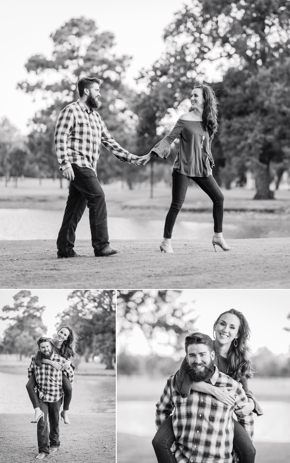 Houston Engagements Photos Black and White