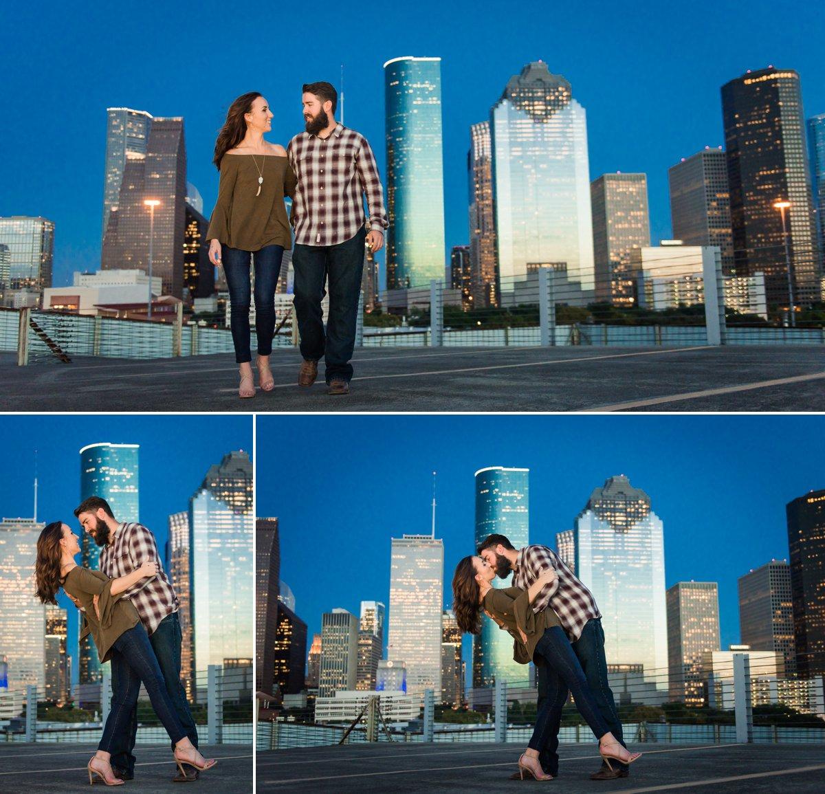 Houston Engagements Photos with Houston Skyline