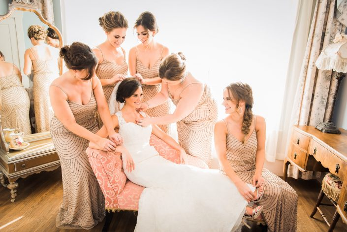 Bridal Party Getting Ready at Butlers Courtyard Wedding by Houston Wedding Photographers Nate Messarra Photography