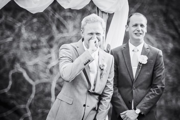 Emotional Groom by by Houston Wedding Photographers Nate Messarra Photography
