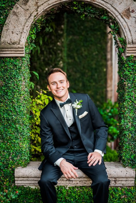 Groom Portrait at Bell Tower on 34th Wedding Bell Tower on 34th Bridal Portrait by Houston Wedding Photographers Nate Messarra Photography