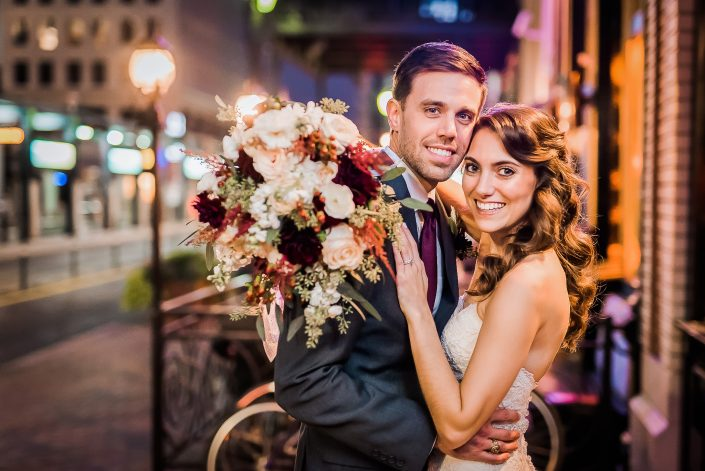 Night Bride and Groom Portraits by Nate Messarra Photography