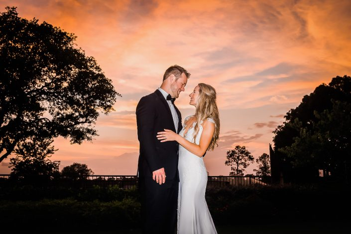 Sunset Bride and Groom Portraits by Nate Messarra Photography
