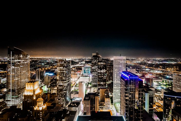Houston Skyline from Petroleum Club Wedding by Nate Messarra Photography